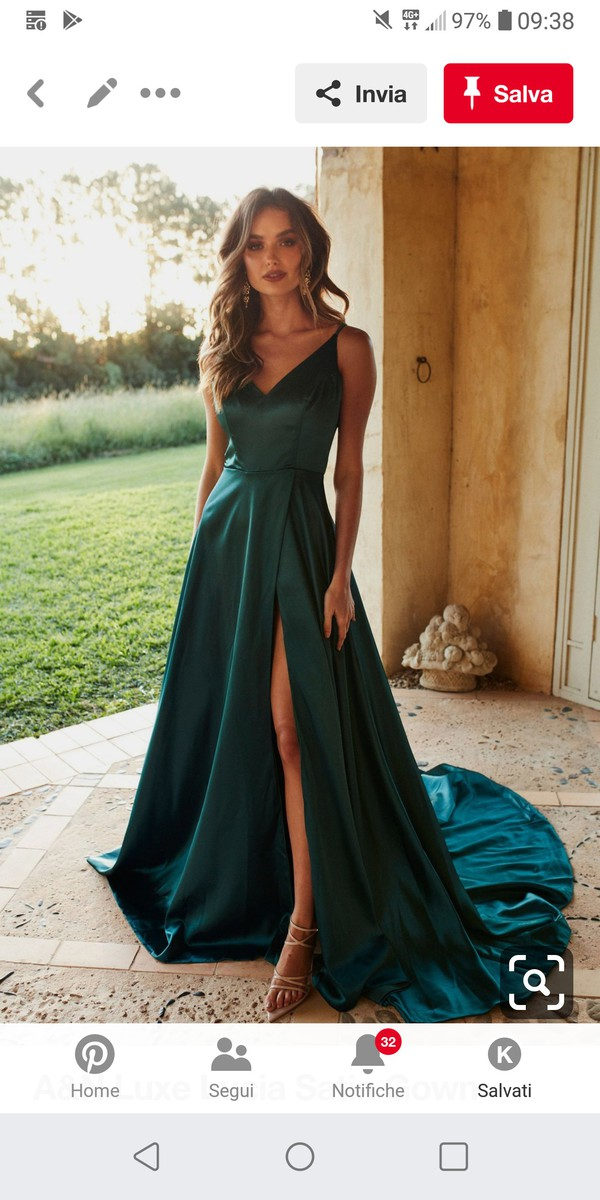 dress teal satin long silk green
