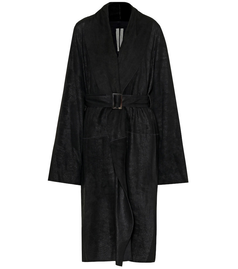 Rick Owens Belted leather coat in black