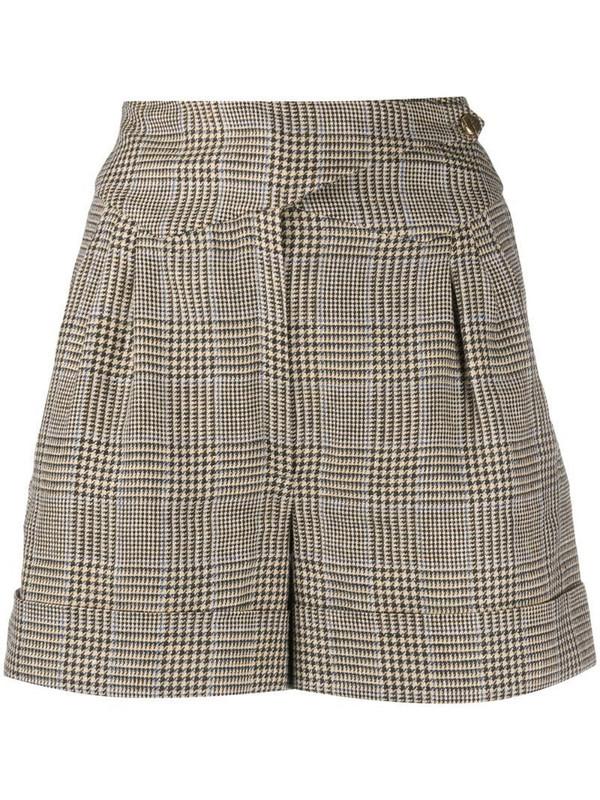 Blazé Milano checked high-waisted shorts in neutrals