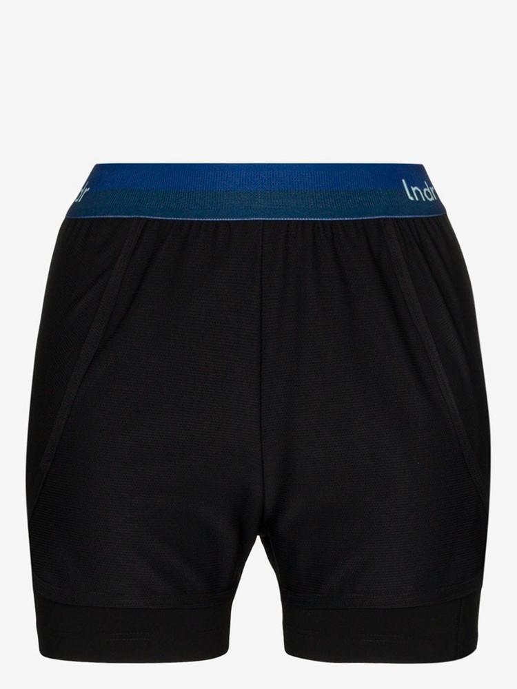 LNDR Dooble contrast waistband sports shorts in black