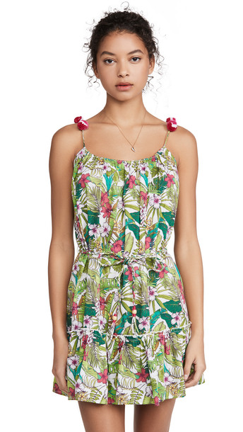 Playa Lucila Floral Short Dress in green / multi