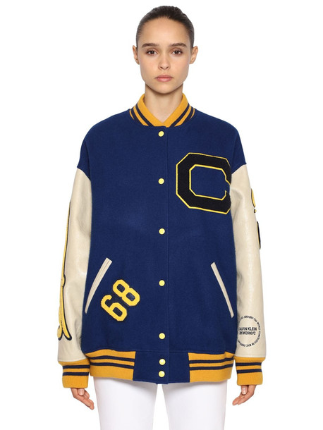 CALVIN KLEIN 205W39NYC Logo Patched Carded Wool Bomber Jacket in blue