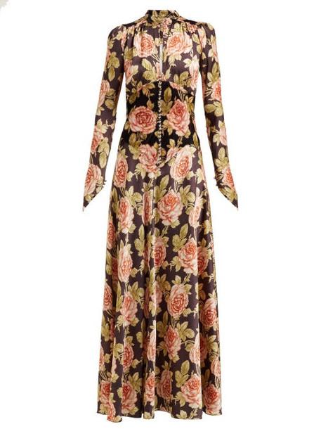 Paco Rabanne - Rose Print Crepe Maxi Dress - Womens - Multi
