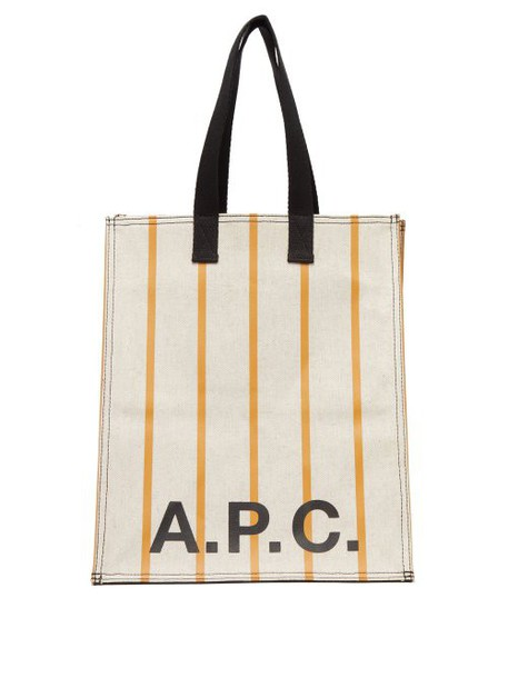 A.P.C. A.p.c. - Cabas Striped Canvas Tote Bag - Womens - Yellow White