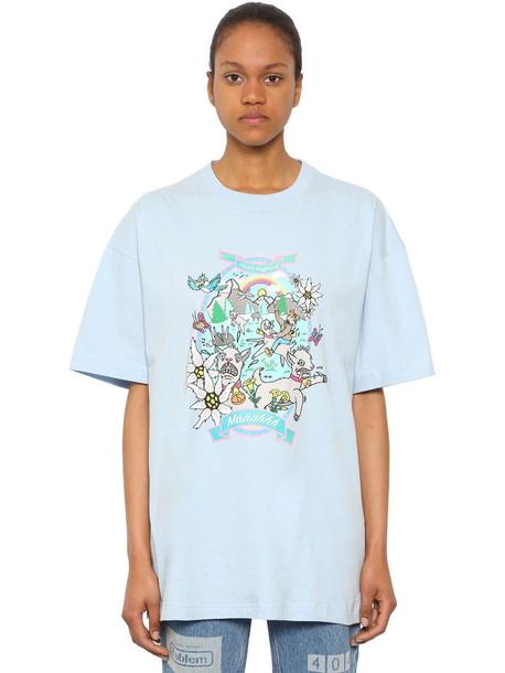 VETEMENTS Oversize Crazy Goat Cotton T Shirt in blue