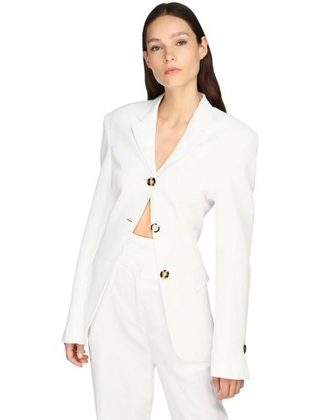 PROENZA SCHOULER Cinched Linen Blend Blazer Jacket in white