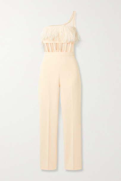 David Koma - One-shoulder Feather-trimmed Crepe And Tulle Jumpsuit - Cream