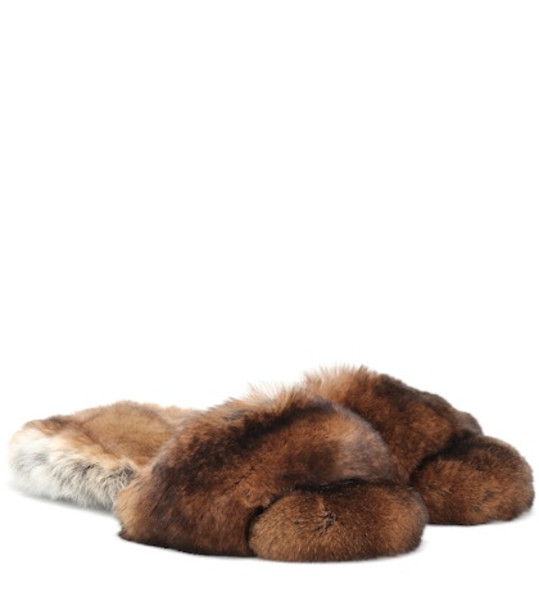 Max Mara Kruger fur slides in brown