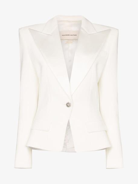 Alexandre Vauthier crystal-button structured blazer in white