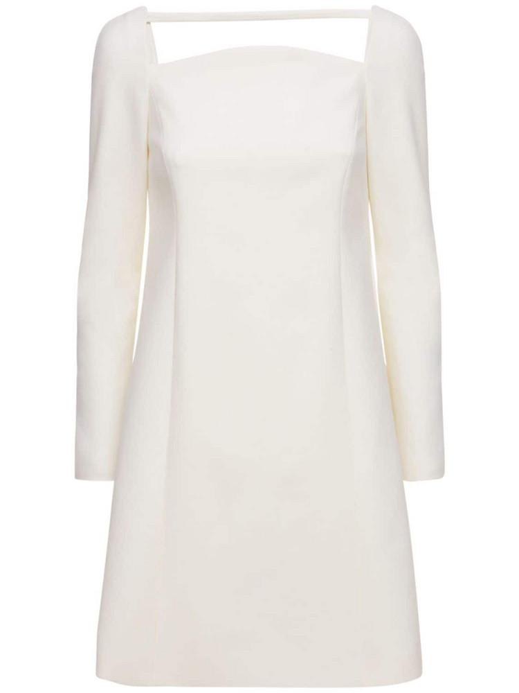 CAROLINA HERRERA Stretch Double Wool Tailored Mini Dress in ivory