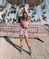 shoes,cowboy boots,mini dress,floral dress,sleeveless dress
