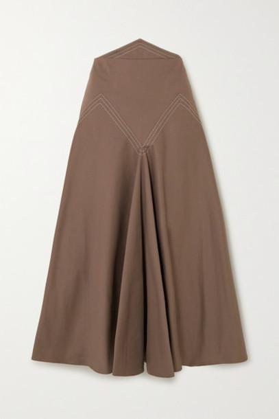 Anna Mason - Lily Paneled Cotton-twill Midi Skirt - Brown