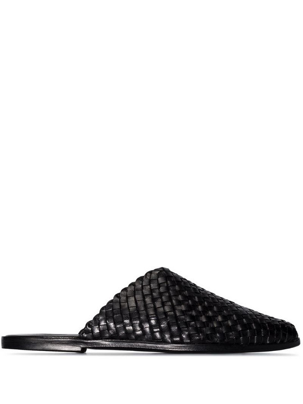 St. Agni Caio leather woven mules in black