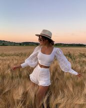 shorts,white shorts,lace,High waisted shorts,crop tops,hat