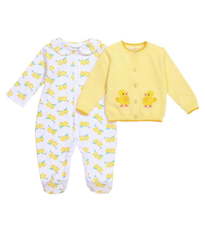 Rachel Riley Baby cotton onesie and cardigan set in yellow