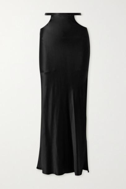 Michael Lo Sordo - Cutout Silk-satin Maxi Skirt - Black
