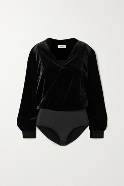 L'Agence - Marcella Wrap-effect Velvet And Stretch-jersey Bodysuit - Black