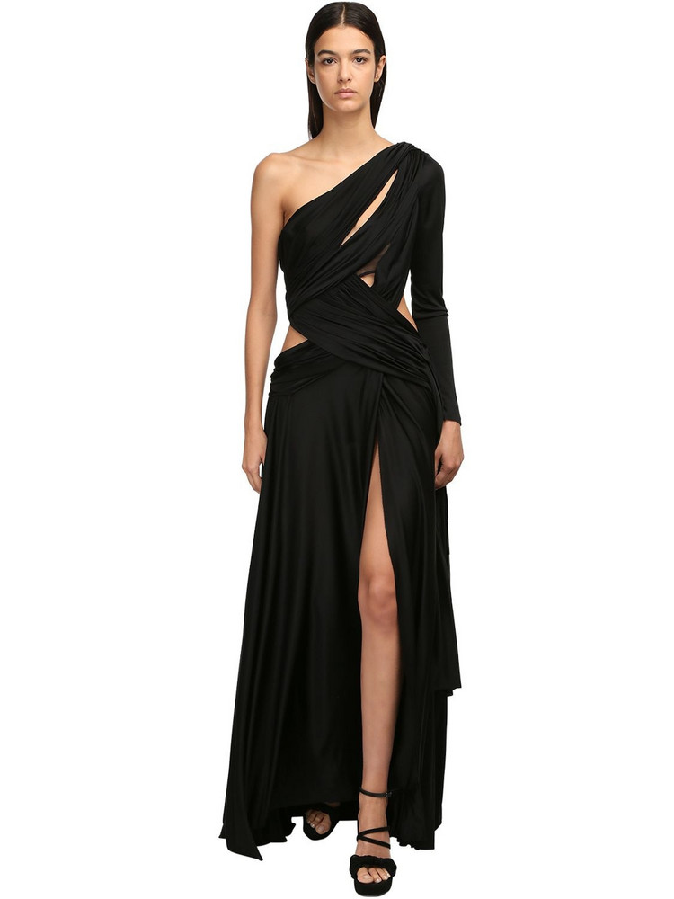REDEMPTION One-shoulder Viscose Long Dress in black