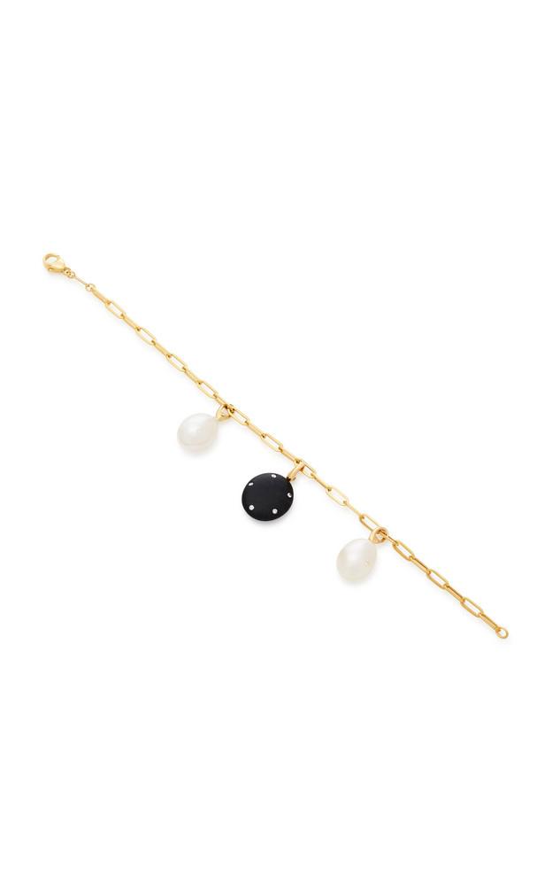 CVC Stones Valor And Pearl 18K Gold Charm Bracelet in black