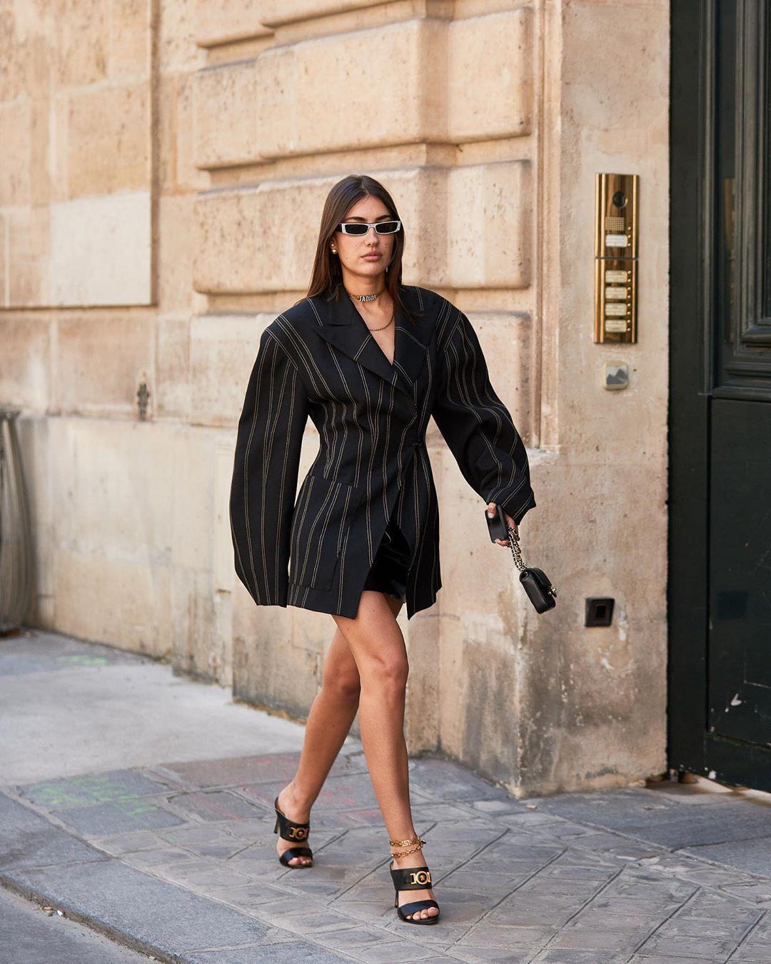 shoes black sandals oversized stripes black blazer versace mini skirt black skirt black bag