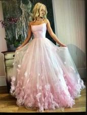 dress,pink,pink dress,prom dress,flowers,long