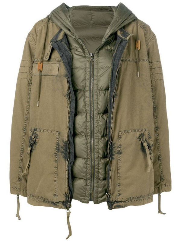 Mr & Mrs Italy layered parka coat in green