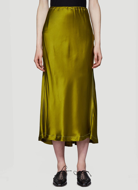 Sies Marjan Xael Fluid Satin Skirt in Green size US - 02