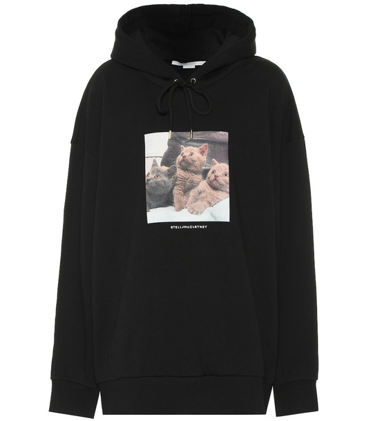 Stella McCartney Printed cotton hoodie in black