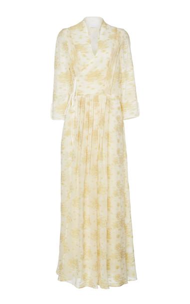 Mame Kurogouchi Floral Chiffon Wrap Dress in white