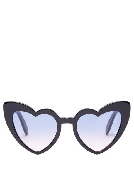 Saint Laurent - Loulou Heart Shaped Sunglasses - Womens - Purple
