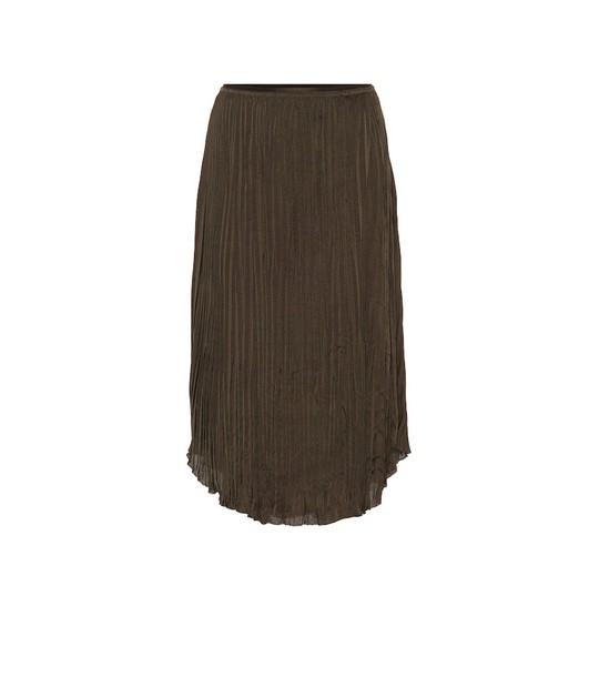 Vince Pleated-crêpe skirt in green