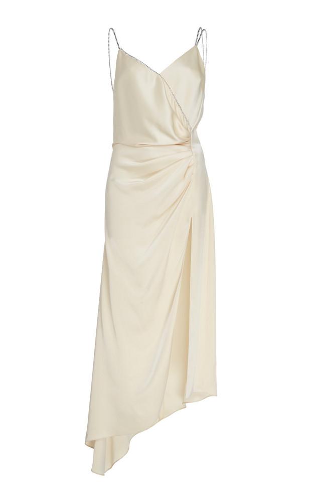 David Koma Asymmetrical Silk-Satin Slip Dress Size: 8 in white