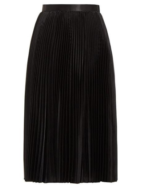 Junya Watanabe - High Rise Pleated Organza Midi Skirt - Womens - Black