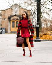 dress,red dress,mini dress,pumps,socks,plaid,red coat,bag