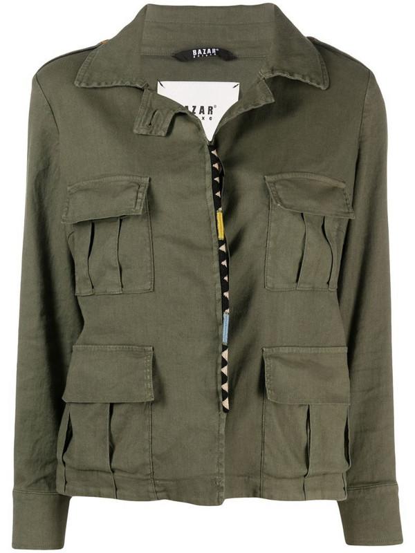 Bazar Deluxe flap-pocket linen-blend jacket in green