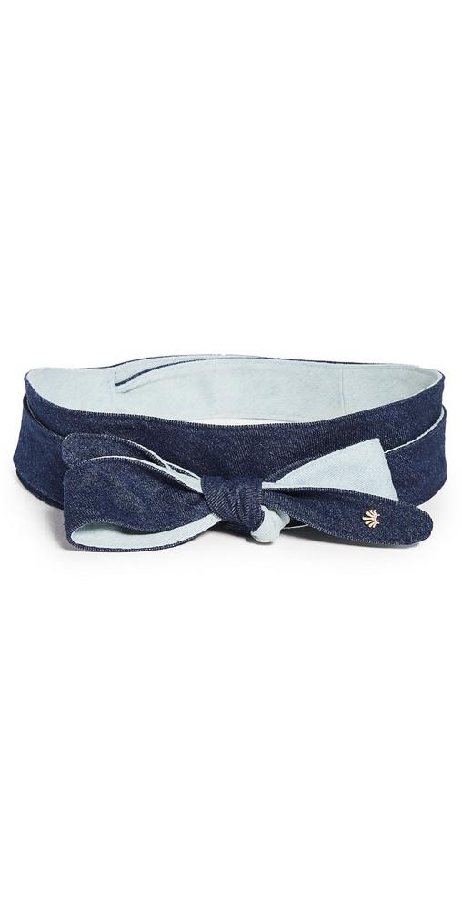 Lele Sadoughi Bow Tie Wrap Belt in denim / denim