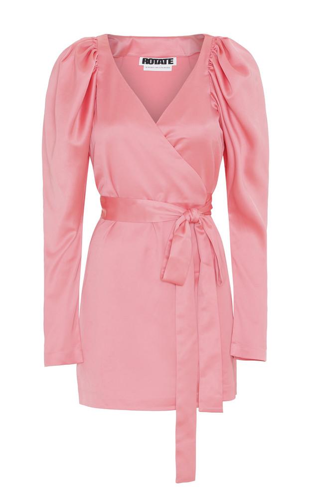 ROTATE Wrap Satin Mini Dress in pink