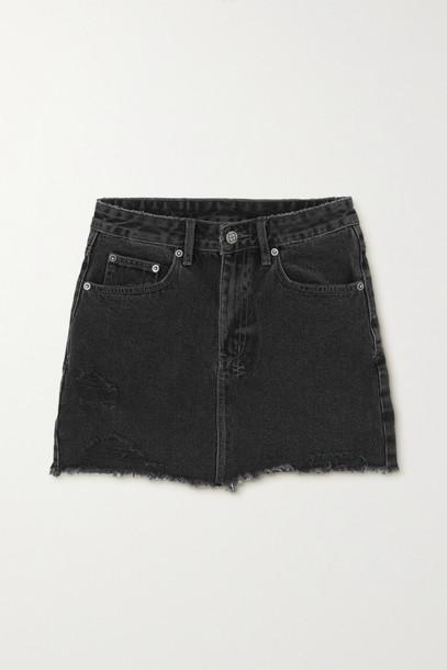 KSUBI - Model Distressed Denim Mini Skirt - Black