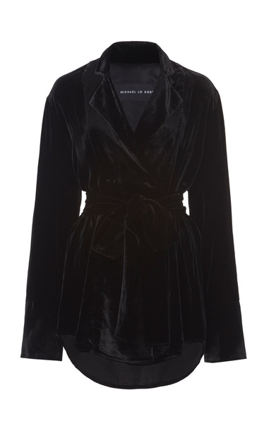 Michael Lo Sordo Wrap-Effect Velvet Shirt Size: 10 in black