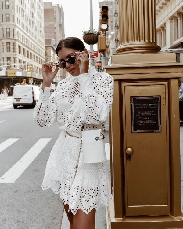 dress white dress mini dress h&m lace dress white bag bucket bag