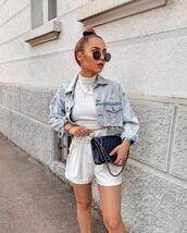 shorts,white shorts,denim jacket,white top,crop tops,black bag