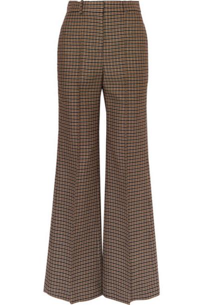 Victoria Beckham - Checked Wool Wide-leg Pants - Brown