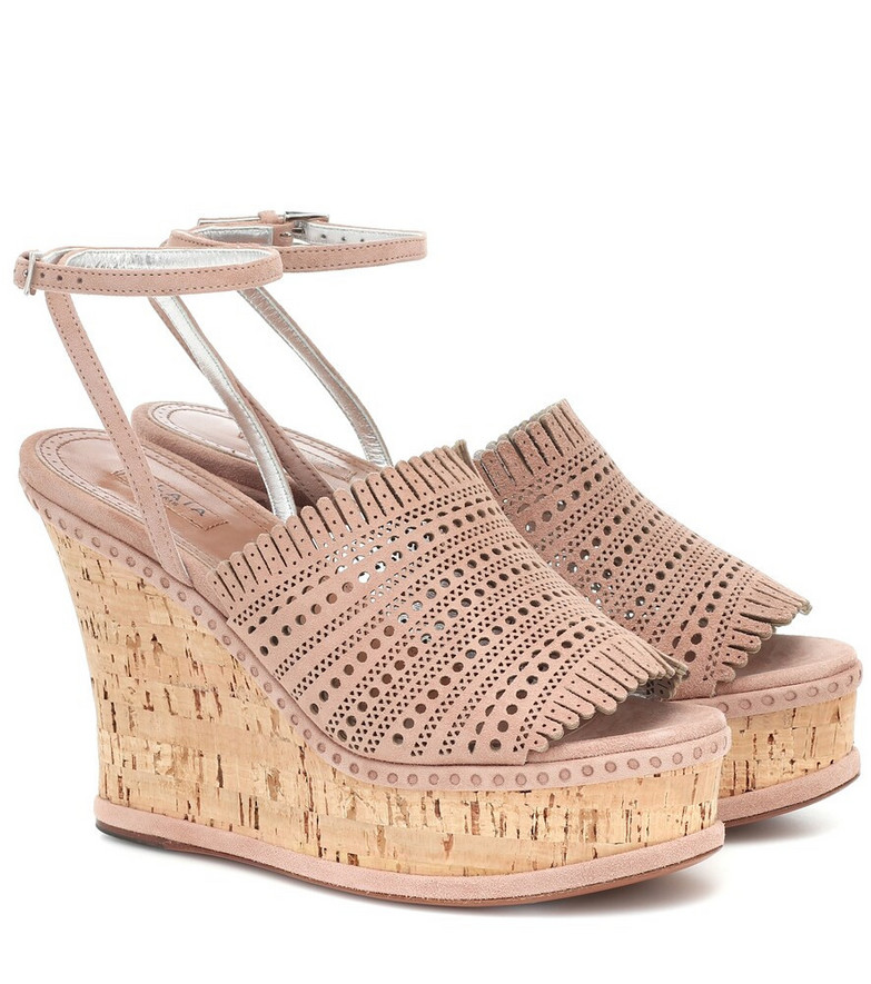 Alaïa Suede wedge sandals in beige