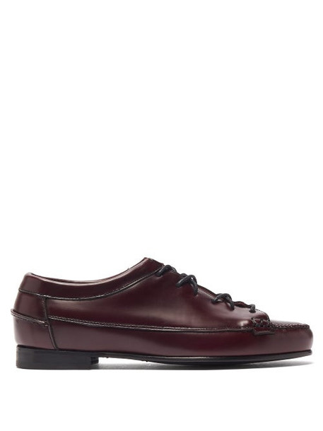 Hereu - Priega Lace Up Leather Loafers - Womens - Burgundy