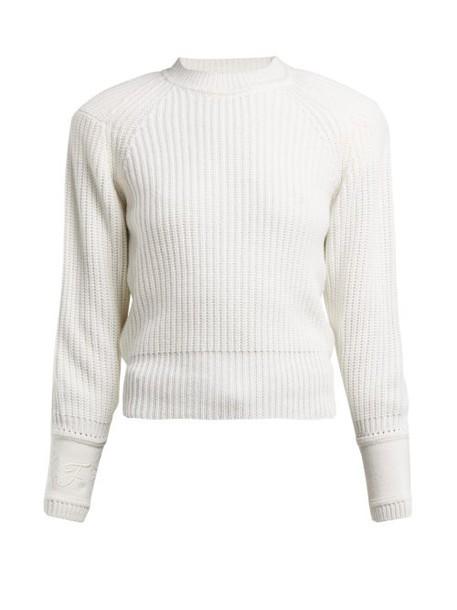Fendi - Embroidered Cuff Cashmere Sweater - Womens - White
