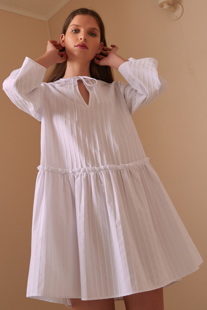 THE FIFTH POPPY STRIPE LONG SLEEVE DRESS white