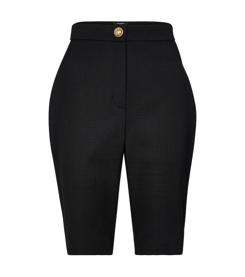 Balmain High-rise wool shorts in black