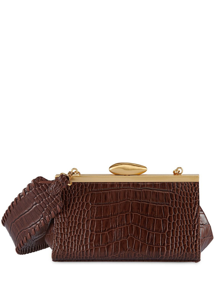 REIKE NEN Pebble Mini Croc Embossed Leather Bag in brown