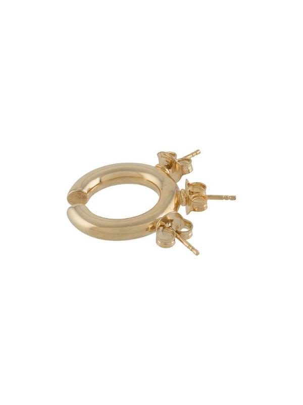d'heygere multiple fastening single hoop earrings in gold