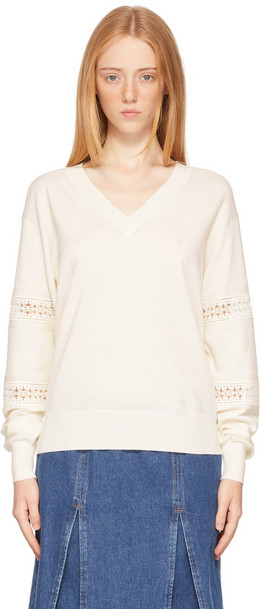 See by Chloé See by Chloé Off-White Lace V-Neck Sweater